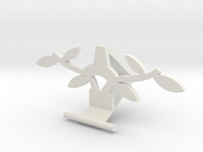 Universal Phone Stand- leaf Design in White Natural Versatile Plastic