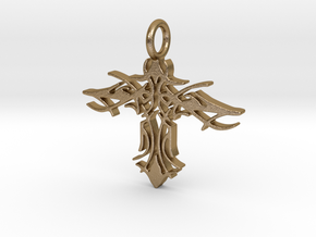 Pendant Tribal Cross Design 02 Model 03 - MCDStudi in Polished Gold Steel