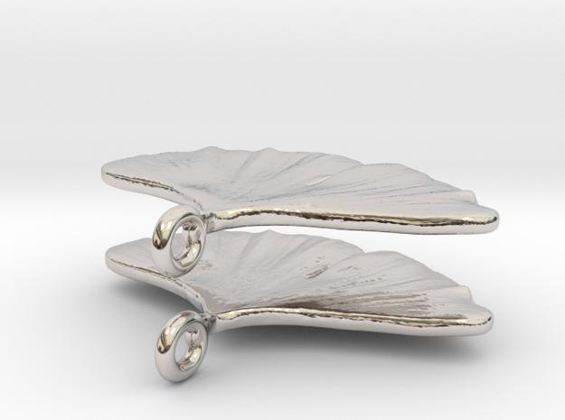 Ginkoearrings in Rhodium Plated Brass