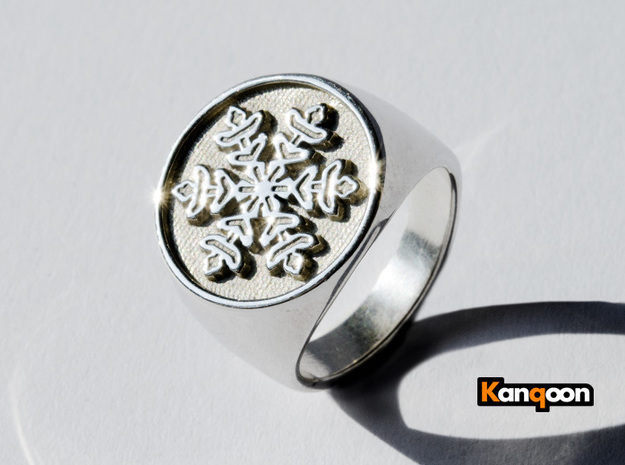 Snowflake - Signet Ring in Polished Silver: 6 / 51.5