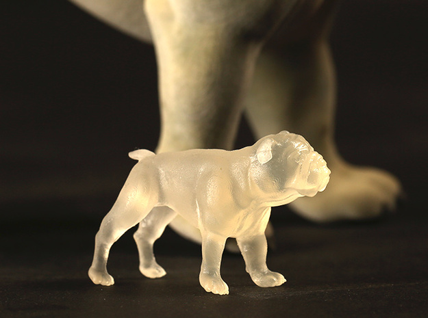 Bulldog S Full Color Sandstone 3d printed Frosted ultra detail S size
