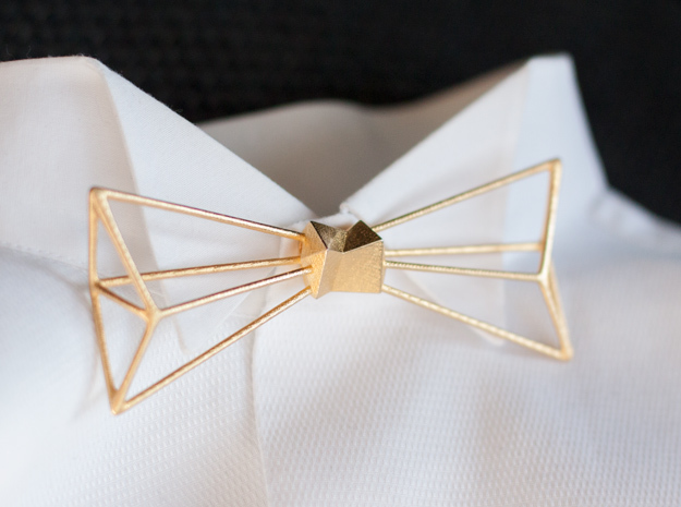 Bow Tie and Necklace in one in Polished Gold Steel