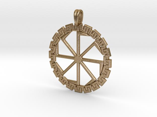 Kolobrat-kolovrat Slavic Pagan Ancient Sun Symbol in Polished Gold Steel