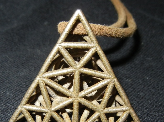 delaunay triangulation pendant in Polished Bronzed Silver Steel