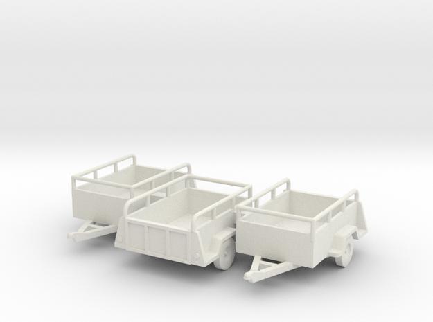 Open Cargo Trailers- Old U-haul style X3 HO 1/87