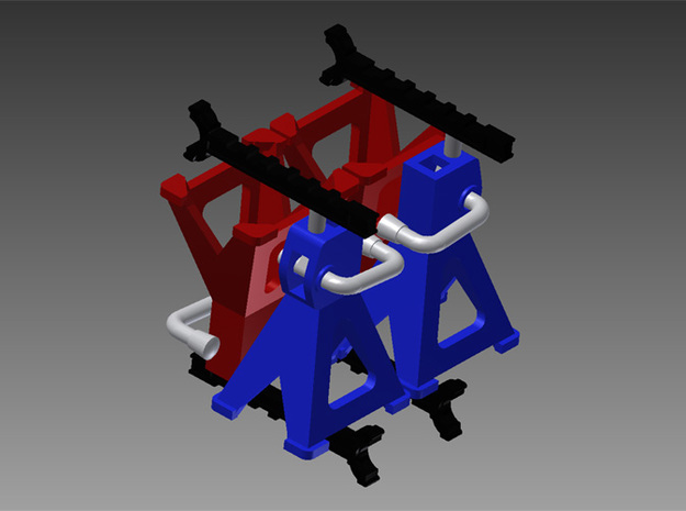 1/24 Jack Stands (4) - functional in Smooth Fine Detail Plastic