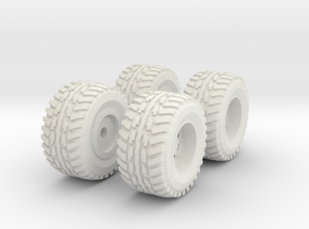 1/64 Scale New Style 4x4 Mud Set in White Strong & Flexible