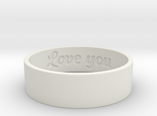Love Ring Ring Size 8 in White Strong & Flexible