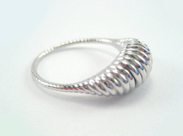 Spiral Ring in Rhodium Plated Brass