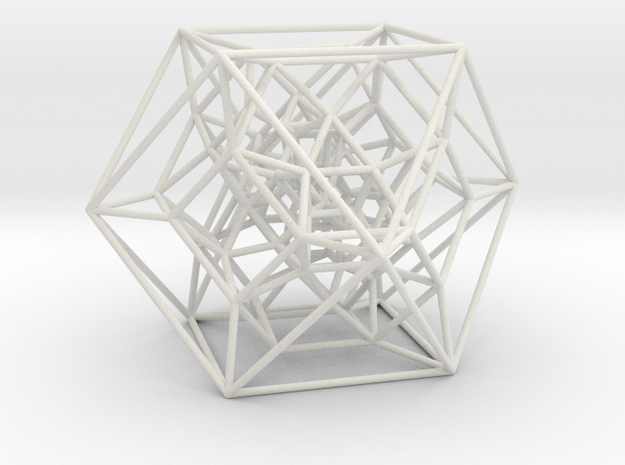 Rectified 24-cell, Perspective Projection in White Natural Versatile Plastic