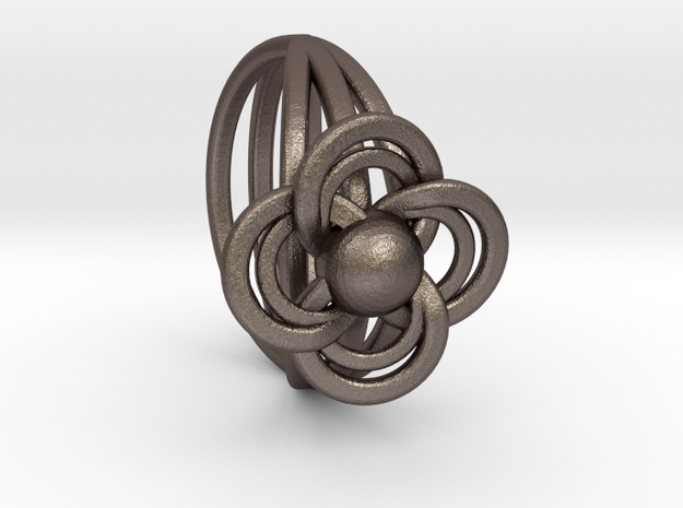 FlowerRing Size 60 in Polished Bronzed Silver Steel