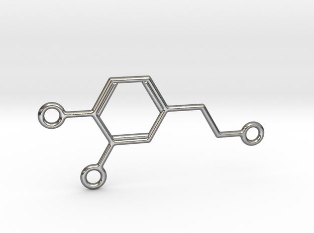 Dopamine Molecule Pendant w Multiple Attachments in Polished Silver