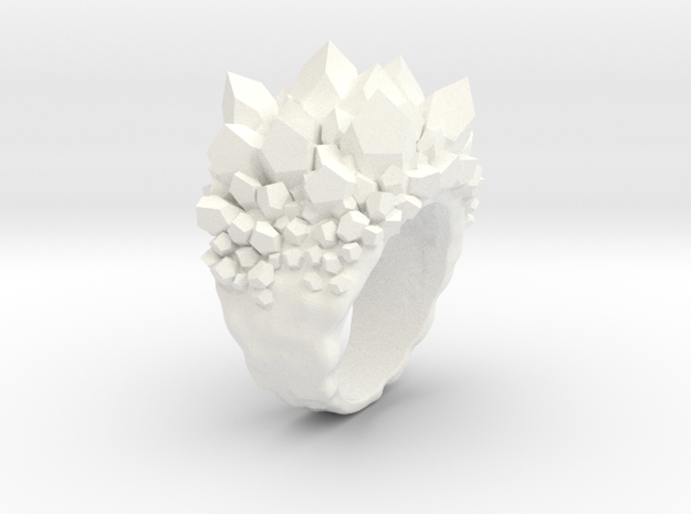 Double Crystal Ring Size 10 in White Processed Versatile Plastic