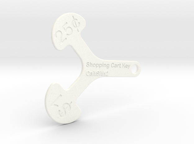 Canadian Cart Key in White Processed Versatile Plastic