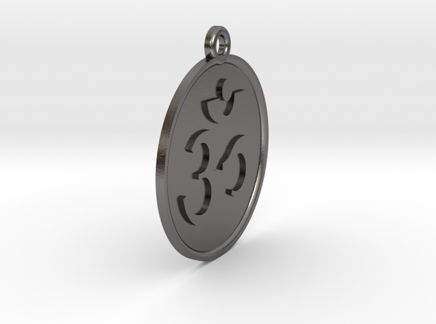 "4.3"" Large Om Zen Meditation Medallion (11cm) in Polished Nickel Steel"