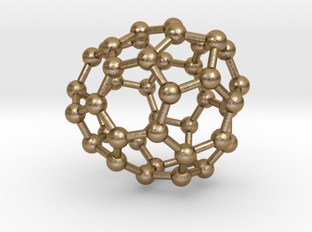 0251 Fullerene C42-30 c1 in Polished Gold Steel