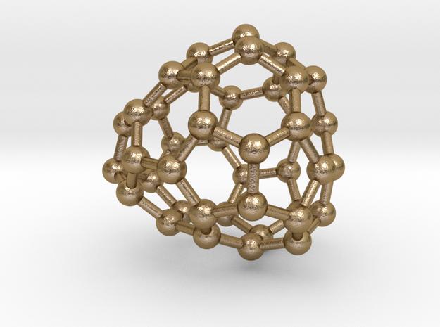 0254 Fullerene C42-33 c1 in Polished Gold Steel
