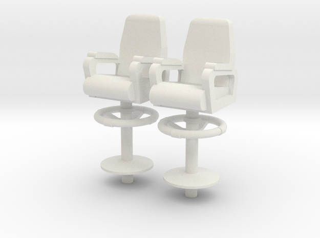 1:18 scale Capt Chairs in a a set of 2 in White Natural Versatile Plastic