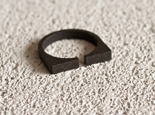 """Snulla"" Ring - Size Small in Matte Black Steel"