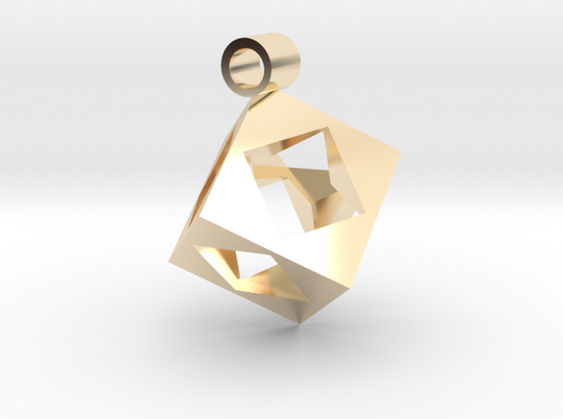 Cube Pendent in 14K Yellow Gold