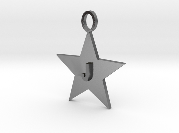 Necklace Letter J in Polished Silver