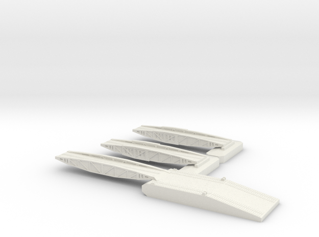 1/600 Mulberry Shore Ramp + 2 Off 25ft Bridges in White Natural Versatile Plastic