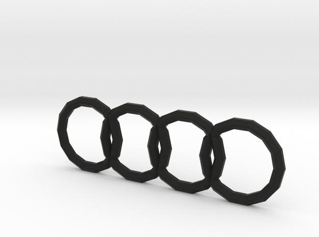 Polygonal Audi Logo (Rear) in Black Natural Versatile Plastic