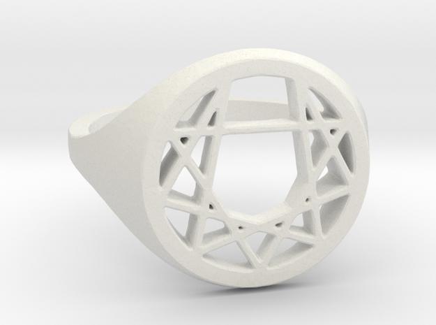 Enneagram Ring - Size 8.5 (18.54 diameter) in White Natural Versatile Plastic