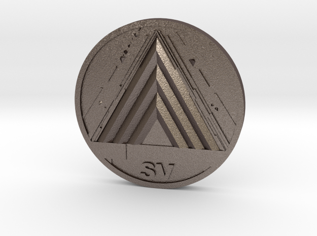VoG Coin in Polished Bronzed Silver Steel