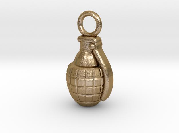 Grenade in Polished Gold Steel