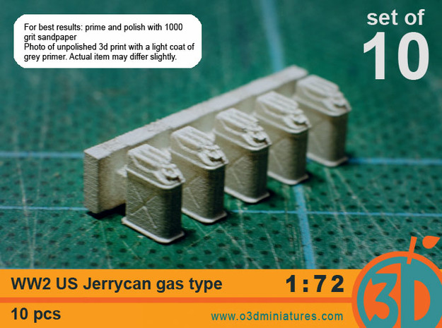 WW2 US gas Jerricans 1/72 scale pack of 10 in Smooth Fine Detail Plastic