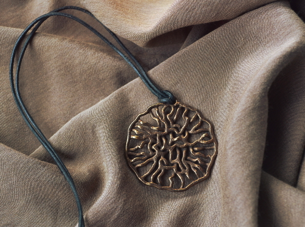 Bacteria Pendant in Polished Bronze Steel