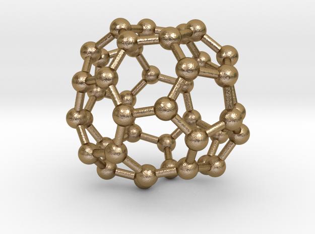 0262 Fullerene C42-41 c2 in Polished Gold Steel