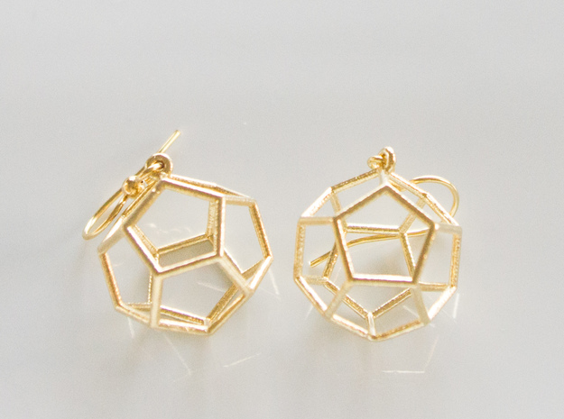 Dodecahedron Earrings in Natural Brass