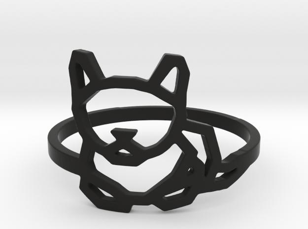Petite Cat Ring in Black Natural Versatile Plastic: 8 / 56.75