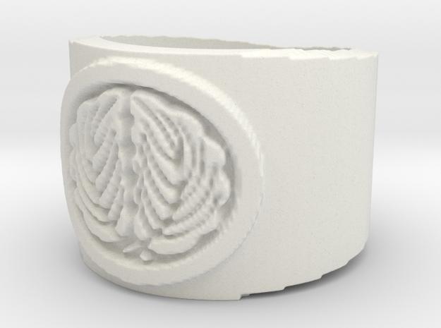 Kashiwa Mon (Japanese Family Crest) Ring Size 10.5 in White Natural Versatile Plastic