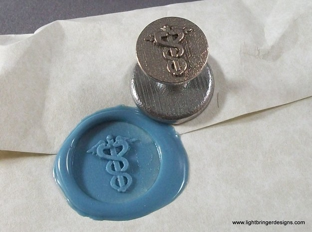 Caduceus Wax Seal (Doctor's Staff) in Polished Bronzed Silver Steel