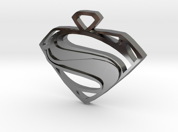 Superman Man Of Steel Pendant in Premium Silver