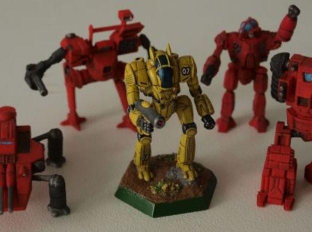 Black Steed Mecha 1/285 6mm 3d printed Battletech chameleon shown for comparison purposes