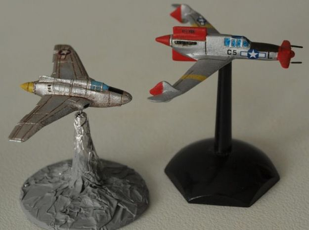 Northrop XP-56 Black Bullet 1/285 Frost Ultra 3d printed Gear Krieg XP-55 shown for comparison purposes