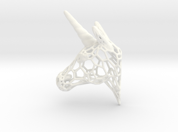 Unicorn Trophy Voronoi (100mm) in White Processed Versatile Plastic