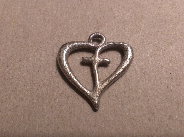 Cross My Heart Pendant 3d printed Stainless Steel