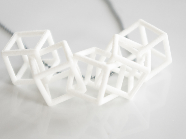 Cubic Chain Pendant in White Natural Versatile Plastic