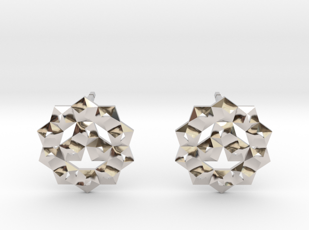 Faceted Circle Earring in Rhodium Plated Brass