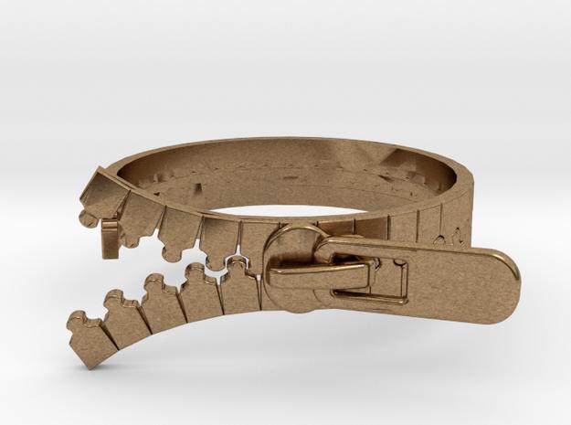 Zipper Ring in Natural Brass