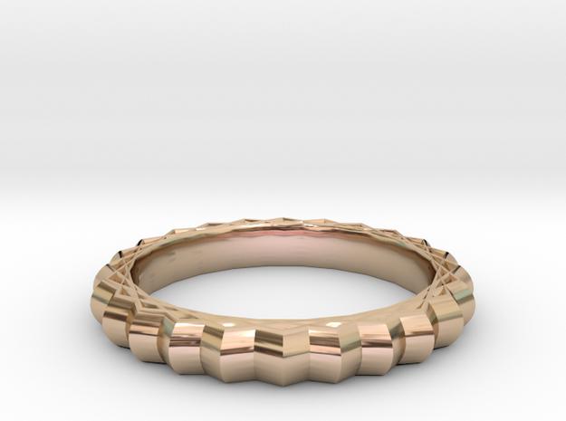 Geometric pattern ring(Japan 10,USA 5.5,Britain K) in 14k Rose Gold Plated Brass