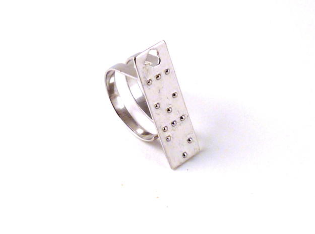 Adjustable ring. Love in Braille. in Raw Silver