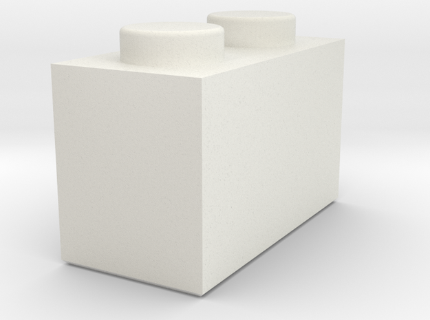 1x2 Lego Brick in White Natural Versatile Plastic