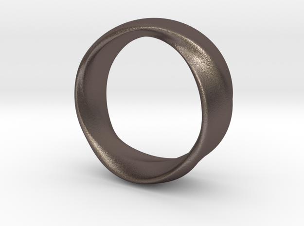 Mobius Ring 19mm inner Diameter in Polished Bronzed Silver Steel