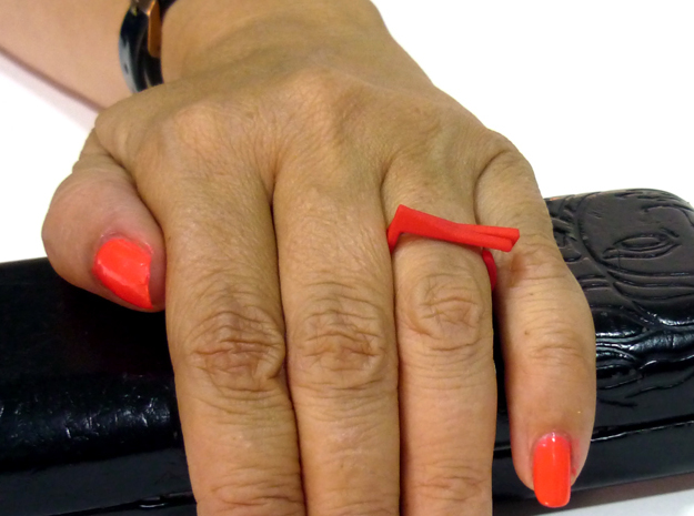 Adjustable ring. Basic set 4. in Red Strong & Flexible Polished